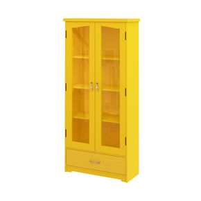 estante-atlanta-2-portas-4-espacos-madeira-amarelo-vidro-quarto-sala-decoracao
