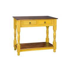 aparador-madeira-amarelo-duas-gavetas-pes-torneados-907320