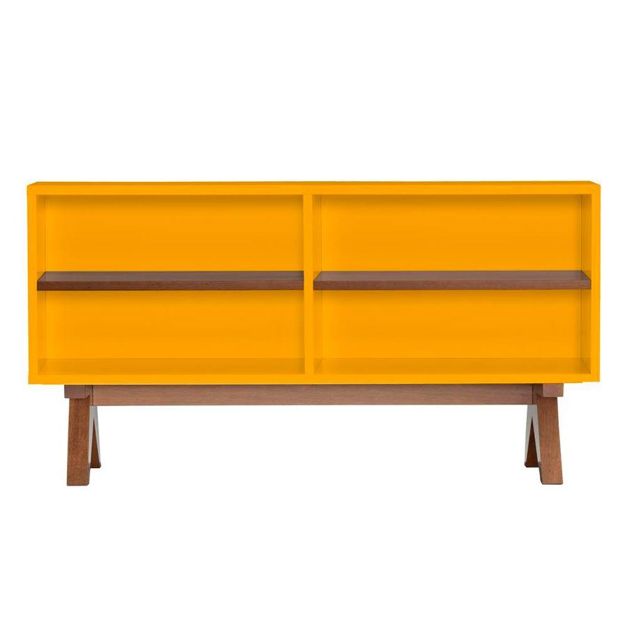 aparador-paes-120-amarelo-base-madeira-com-nicho-prateleira