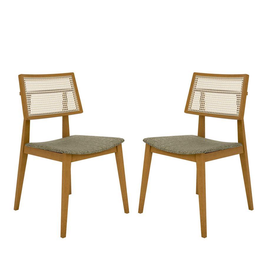 Conjunto 02 Cadeira de Jantar Lignes - Wood Prime LC 20167