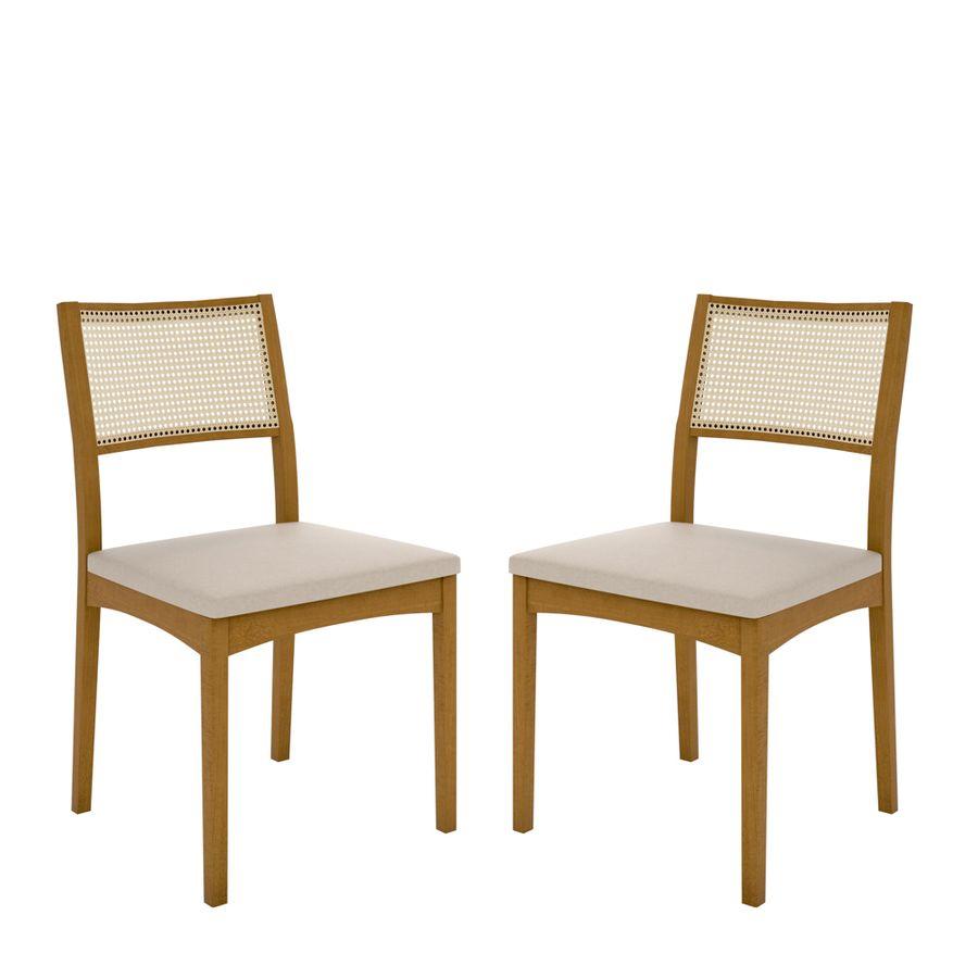 Conjunto 02 Cadeira de Jantar Hong Encosto Palha - Wood Prime LC 20196