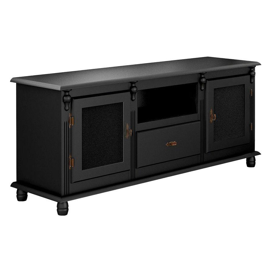 500-rack-madeira-duas-portas-gaveta-nicho-preto-classico
