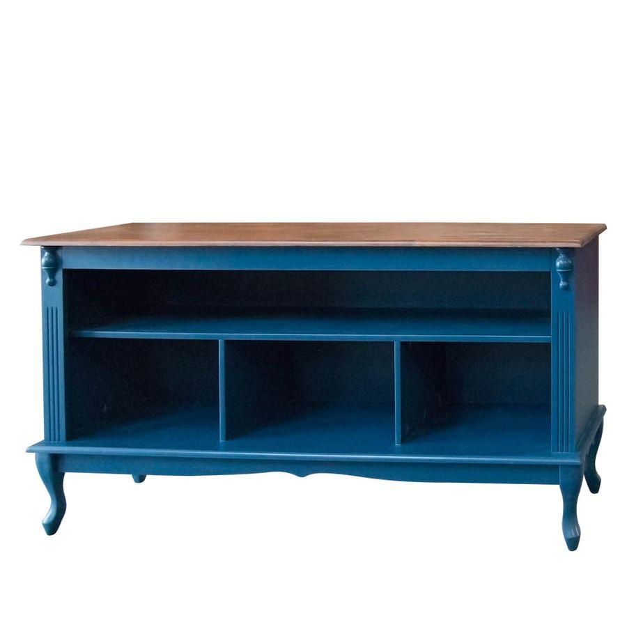 787-Rack-Pequeno-estante-para-apartamento-sala-madeira-macica-entalhada-150-azul-tampo-madeira-marrom