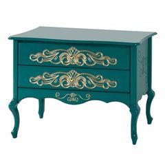 comoda-verde-com-desenhos-dourado-retro-sofisticada