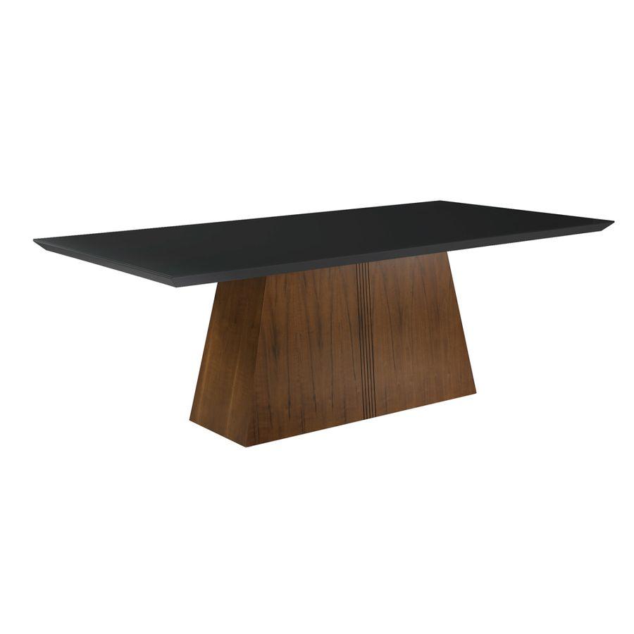 mesa-de-jantar-madeira-macica-tampo-preto-base-madeira-com-entalhe