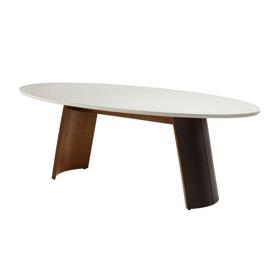 mesa-de-jantar-oval-madeira-macica-branca-base-com-tecido-courino-costurado