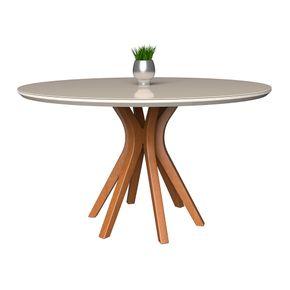 mesa-de-jatar-vegas-1300-redonda-madeira-macica-pes-curvos-base-madeira-amendoa-tampo-off-white