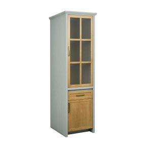 Cristaleira-Flipper-com-2-Portas-e-Gaveta-Mel-e-Cinza--cristaleira-1-porta-vidro-1-porta-madeira-e-1-gaveta-mel-e-cinza
