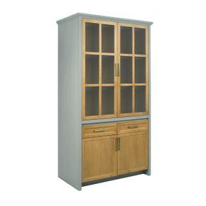 Armario-de-Cozinha-Flipper-com-4-Portas-2-Gaveta-Mel-e-Cinza--armario-de-cozinha-cinza-e-mel-2-portas-madeira-2-portas-vidro-2-gavetas