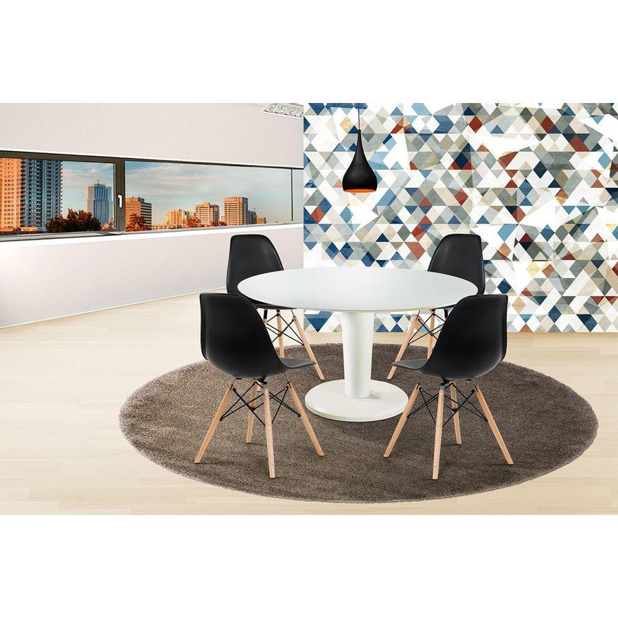 Mesa-de-jantar-vitra-redonda-branca-laqueada-sem-vidro-cadeira-eiffel-preta-pes-em-palito-madeira-macica