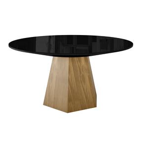 mesa-de-jantar-bianca-redonda-com-tampo-preta-com-madeira-macica