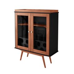 Cristaleiro-brunello-preto-marrom-com-2-portas-com-vidro-e-com-adega-pes-palito-em-madeira