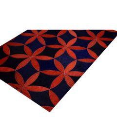 tapete-raro-requinte-flower-azul-marinho-e-ferrugem